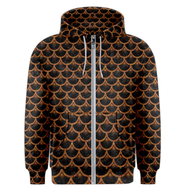 SCALES3 BLACK MARBLE & RUSTED METAL (R) Men s Zipper Hoodie