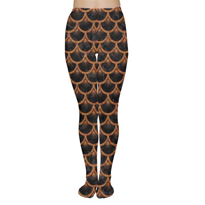 SCALES3 BLACK MARBLE & RUSTED METAL (R) Women s Tights