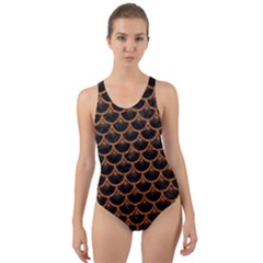 Scales3 Black Marble & Rusted Metal (r) Cut Out Back One Piece Swimsuit