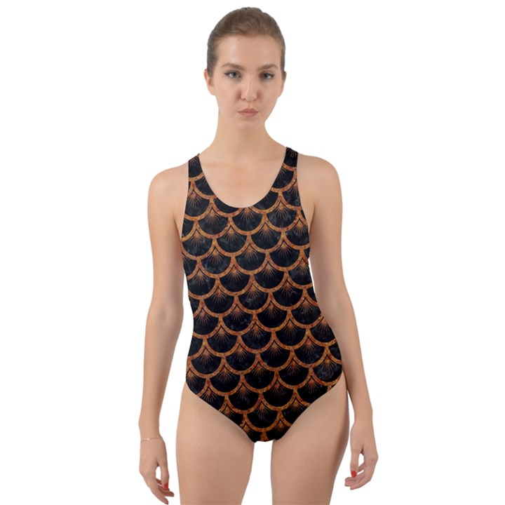 SCALES3 BLACK MARBLE & RUSTED METAL (R) Cut-Out Back One Piece Swimsuit