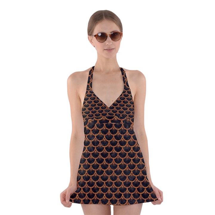 SCALES3 BLACK MARBLE & RUSTED METAL (R) Halter Dress Swimsuit