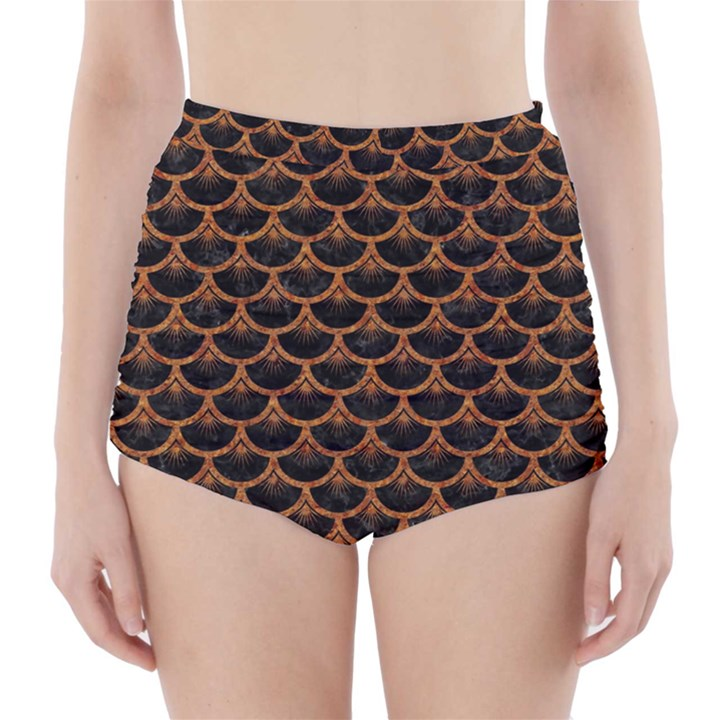 SCALES3 BLACK MARBLE & RUSTED METAL (R) High-Waisted Bikini Bottoms