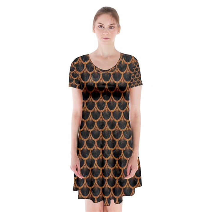 SCALES3 BLACK MARBLE & RUSTED METAL (R) Short Sleeve V-neck Flare Dress