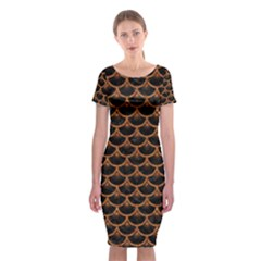 Scales3 Black Marble & Rusted Metal (r) Classic Short Sleeve Midi Dress