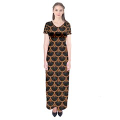 Scales3 Black Marble & Rusted Metal (r) Short Sleeve Maxi Dress