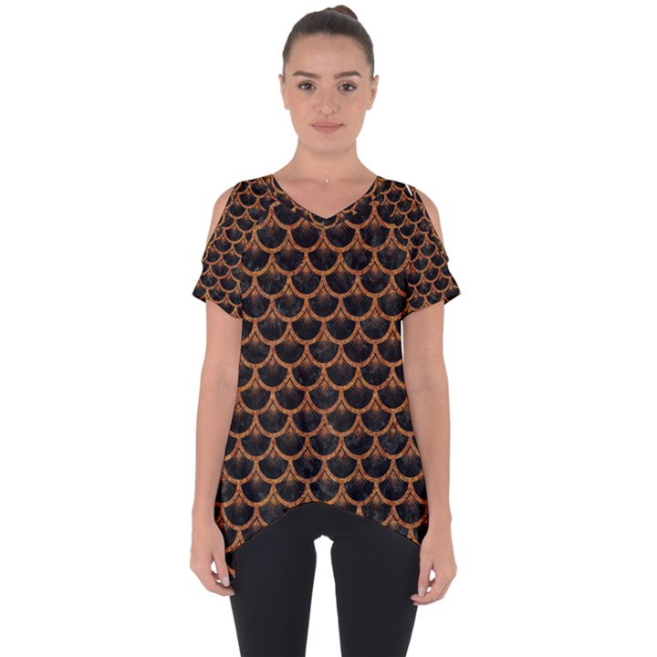 SCALES3 BLACK MARBLE & RUSTED METAL (R) Cut Out Side Drop Tee