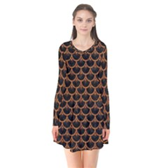 Scales3 Black Marble & Rusted Metal (r) Flare Dress