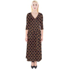Scales3 Black Marble & Rusted Metal (r) Quarter Sleeve Wrap Maxi Dress