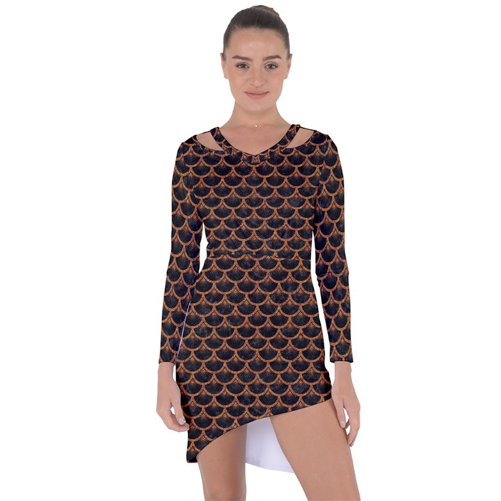 SCALES3 BLACK MARBLE & RUSTED METAL (R) Asymmetric Cut-Out Shift Dress