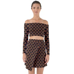 Scales3 Black Marble & Rusted Metal (r) Off Shoulder Top With Skirt Set