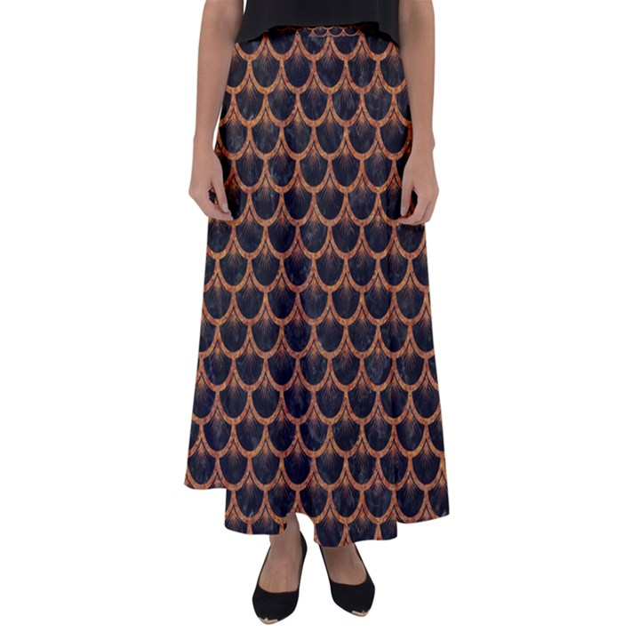 SCALES3 BLACK MARBLE & RUSTED METAL (R) Flared Maxi Skirt