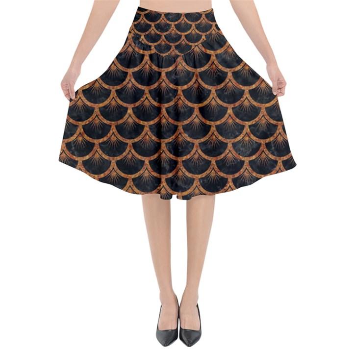 SCALES3 BLACK MARBLE & RUSTED METAL (R) Flared Midi Skirt