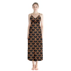 Scales3 Black Marble & Rusted Metal (r) Button Up Chiffon Maxi Dress