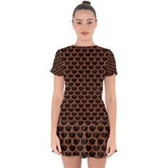 Scales3 Black Marble & Rusted Metal (r) Drop Hem Mini Chiffon Dress