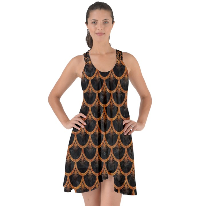 SCALES3 BLACK MARBLE & RUSTED METAL (R) Show Some Back Chiffon Dress