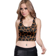 Skin1 Black Marble & Rusted Metal Racer Back Crop Top