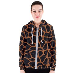 Skin1 Black Marble & Rusted Metal Women s Zipper Hoodie