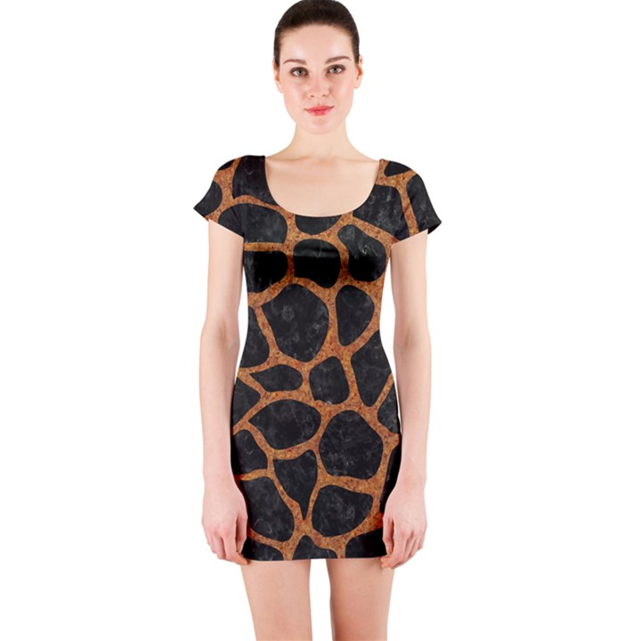 SKIN1 BLACK MARBLE & RUSTED METAL Short Sleeve Bodycon Dress