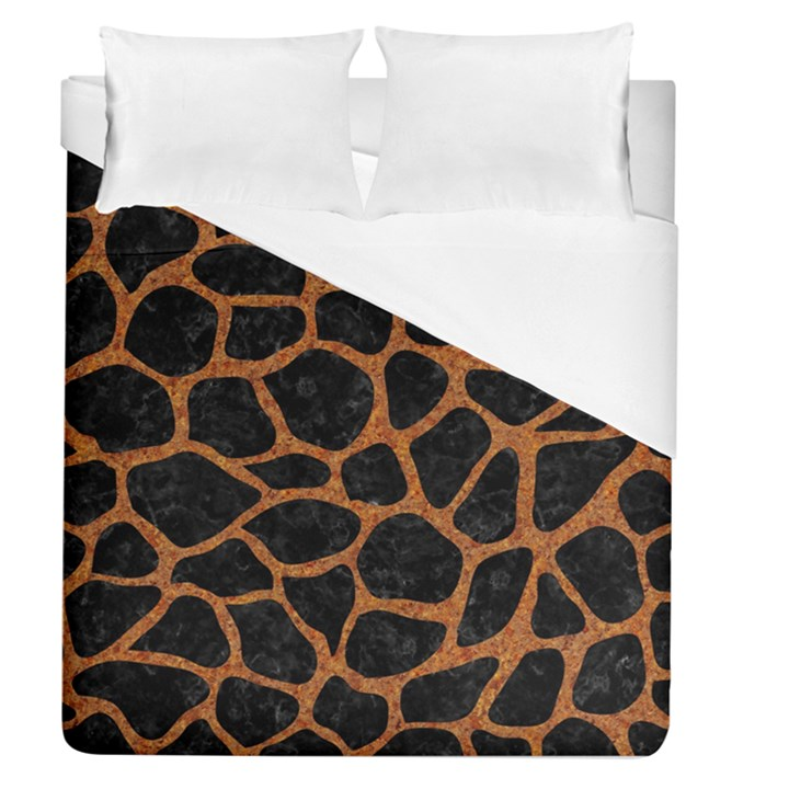 SKIN1 BLACK MARBLE & RUSTED METAL Duvet Cover (Queen Size)