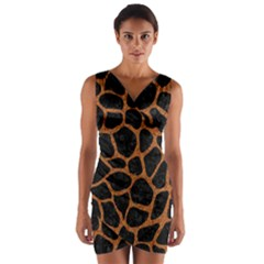 Skin1 Black Marble & Rusted Metal Wrap Front Bodycon Dress