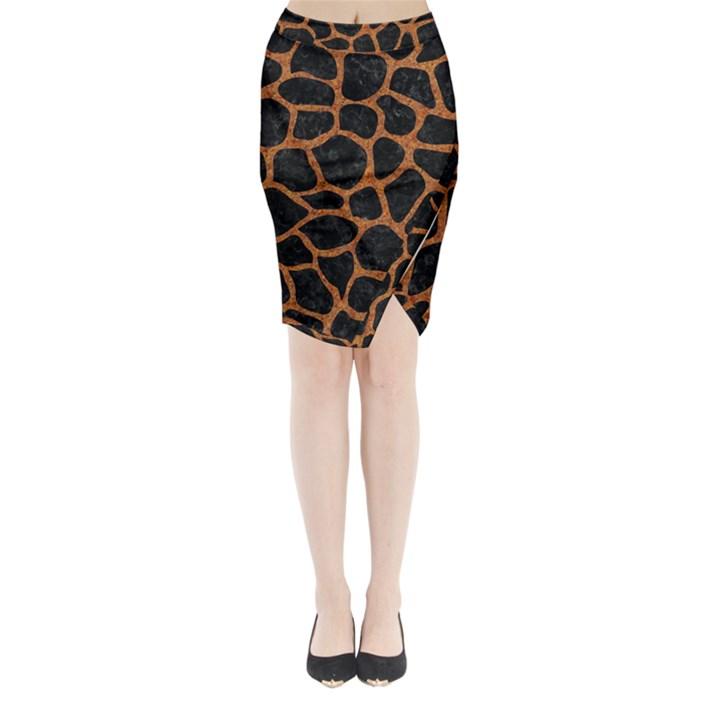 SKIN1 BLACK MARBLE & RUSTED METAL Midi Wrap Pencil Skirt