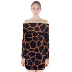 Skin1 Black Marble & Rusted Metal Long Sleeve Off Shoulder Dress