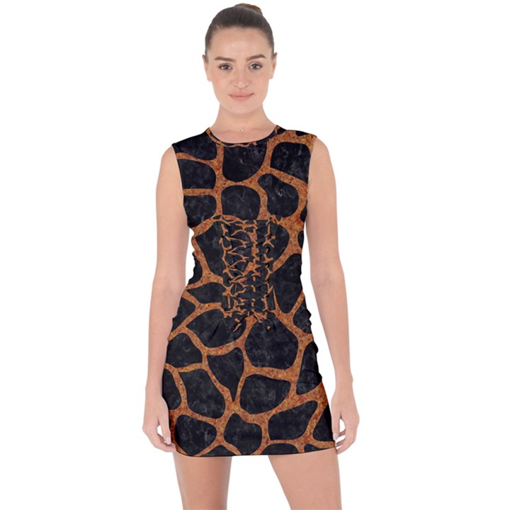 SKIN1 BLACK MARBLE & RUSTED METAL Lace Up Front Bodycon Dress