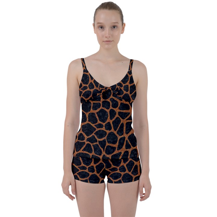 SKIN1 BLACK MARBLE & RUSTED METAL Tie Front Two Piece Tankini