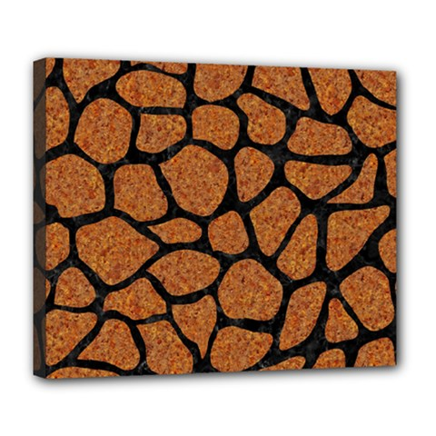 Skin1 Black Marble & Rusted Metal (r) Deluxe Canvas 24  X 20
