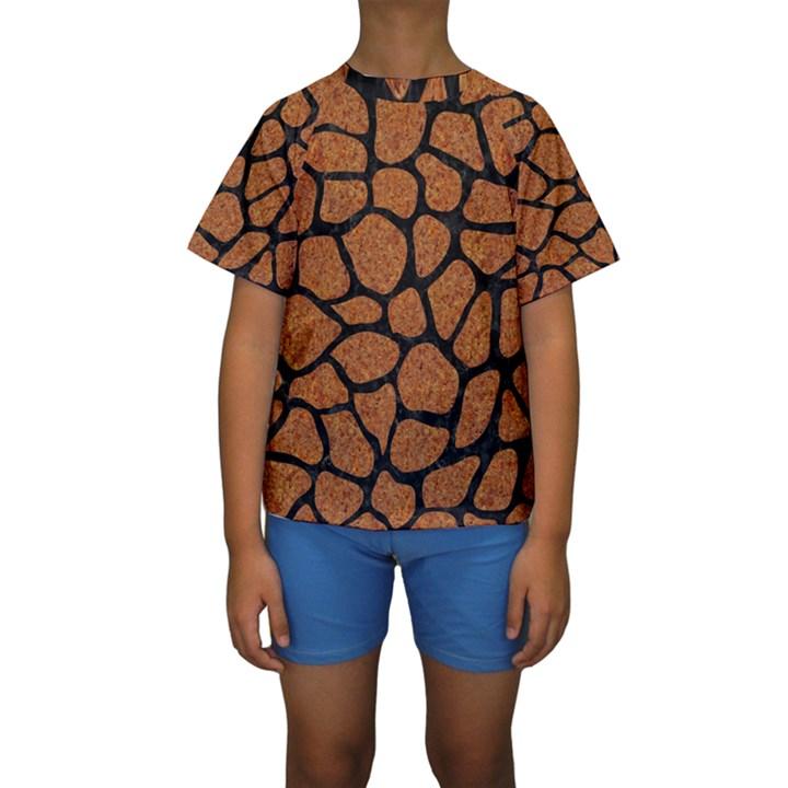 SKIN1 BLACK MARBLE & RUSTED METAL (R) Kids  Short Sleeve Swimwear