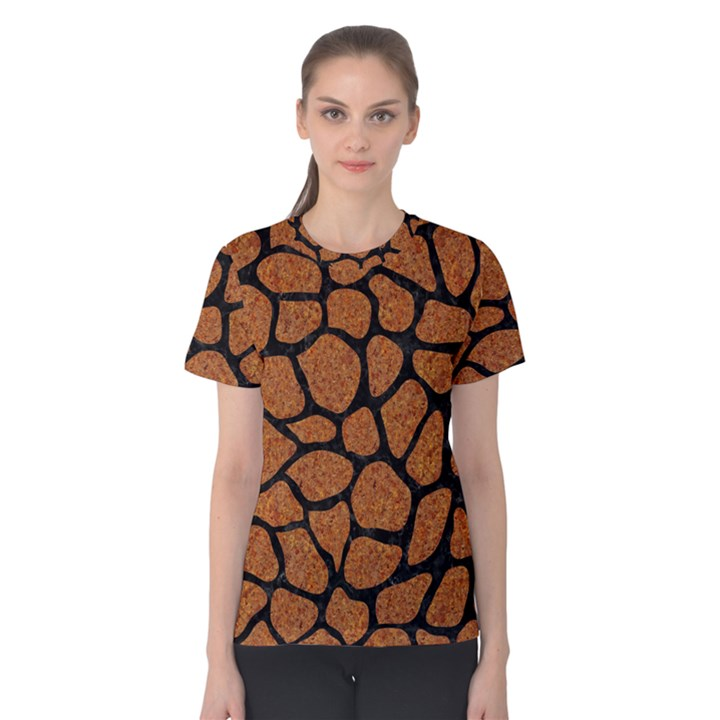SKIN1 BLACK MARBLE & RUSTED METAL (R) Women s Cotton Tee