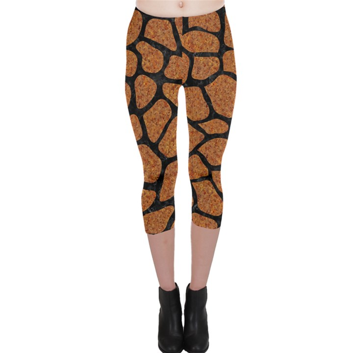SKIN1 BLACK MARBLE & RUSTED METAL (R) Capri Leggings