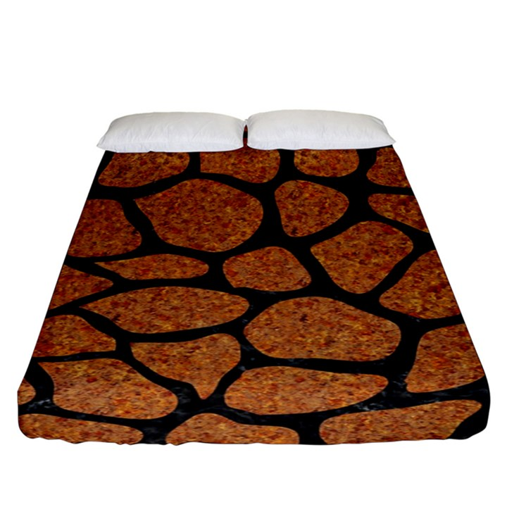 SKIN1 BLACK MARBLE & RUSTED METAL (R) Fitted Sheet (King Size)