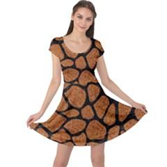 Skin1 Black Marble & Rusted Metal (r) Cap Sleeve Dress