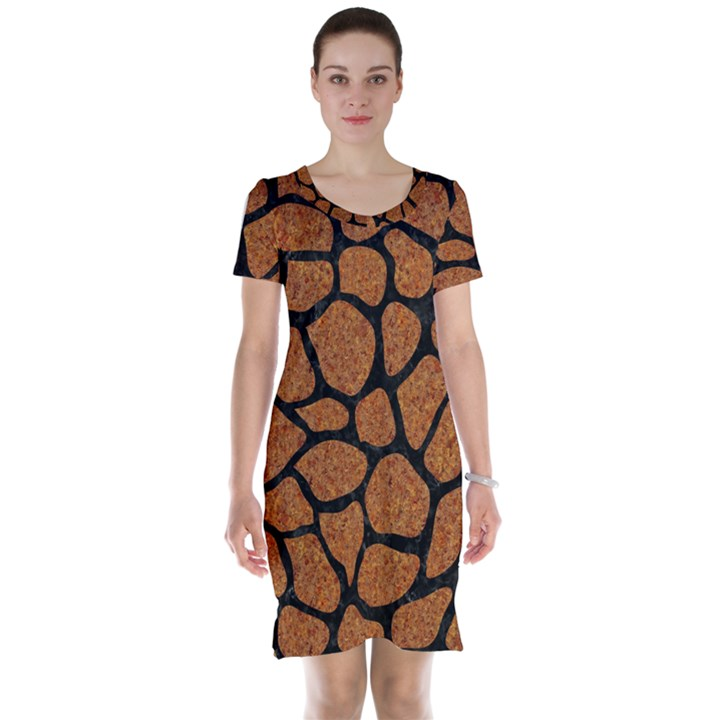 SKIN1 BLACK MARBLE & RUSTED METAL (R) Short Sleeve Nightdress