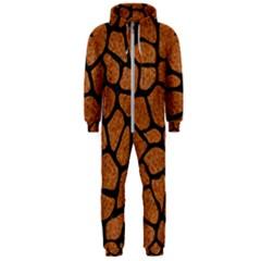 Skin1 Black Marble & Rusted Metal (r) Hooded Jumpsuit (men)