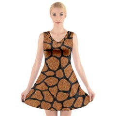 Skin1 Black Marble & Rusted Metal (r) V Neck Sleeveless Skater Dress