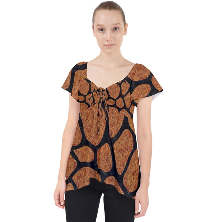 SKIN1 BLACK MARBLE & RUSTED METAL (R) Lace Front Dolly Top