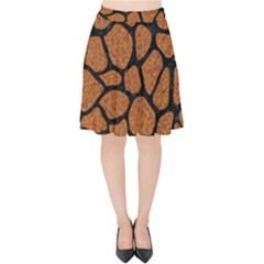 Skin1 Black Marble & Rusted Metal (r) Velvet High Waist Skirt