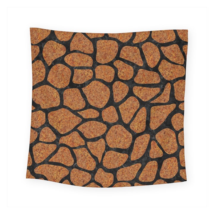 SKIN1 BLACK MARBLE & RUSTED METAL (R) Square Tapestry (Small)