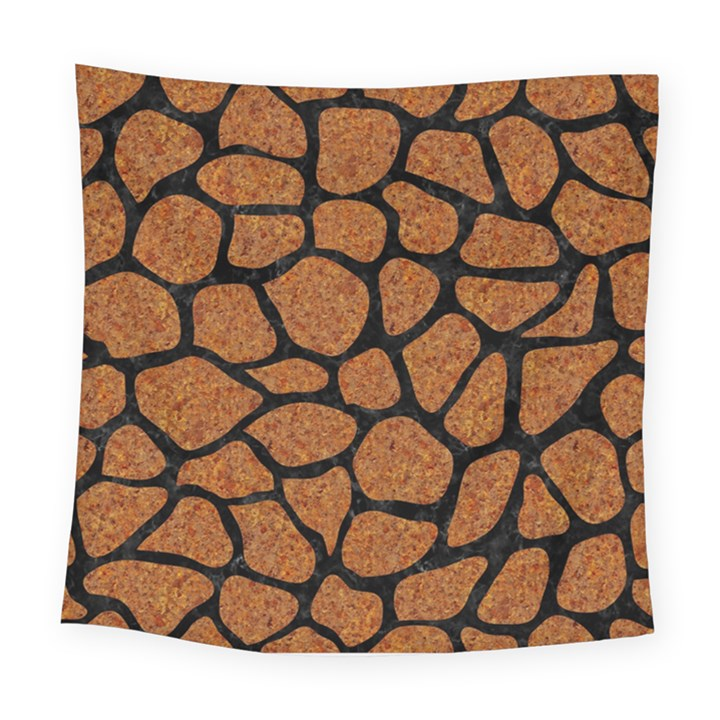 SKIN1 BLACK MARBLE & RUSTED METAL (R) Square Tapestry (Large)