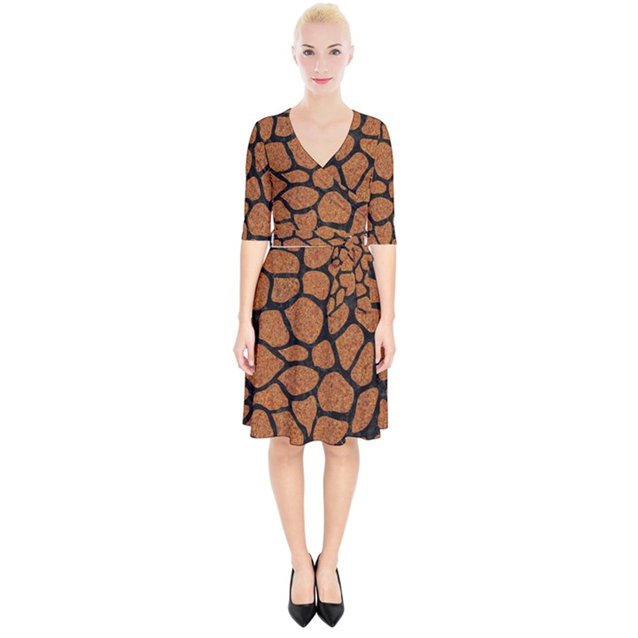 SKIN1 BLACK MARBLE & RUSTED METAL (R) Wrap Up Cocktail Dress
