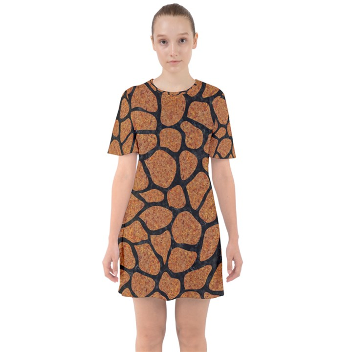 SKIN1 BLACK MARBLE & RUSTED METAL (R) Sixties Short Sleeve Mini Dress