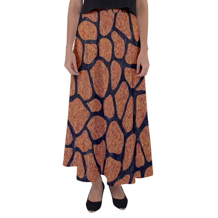 SKIN1 BLACK MARBLE & RUSTED METAL (R) Flared Maxi Skirt