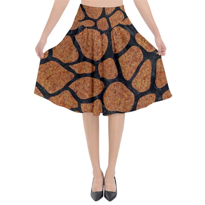 SKIN1 BLACK MARBLE & RUSTED METAL (R) Flared Midi Skirt
