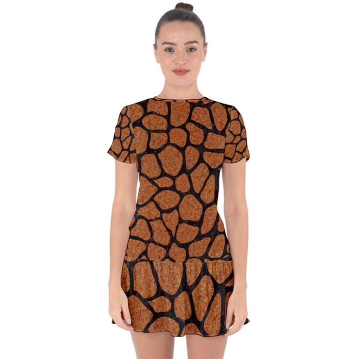 SKIN1 BLACK MARBLE & RUSTED METAL (R) Drop Hem Mini Chiffon Dress