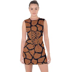 Skin1 Black Marble & Rusted Metal (r) Lace Up Front Bodycon Dress