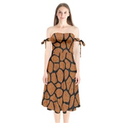 Skin1 Black Marble & Rusted Metal (r) Shoulder Tie Bardot Midi Dress