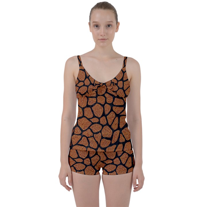 SKIN1 BLACK MARBLE & RUSTED METAL (R) Tie Front Two Piece Tankini