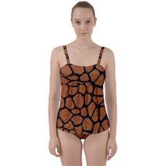 Skin1 Black Marble & Rusted Metal (r) Twist Front Tankini Set